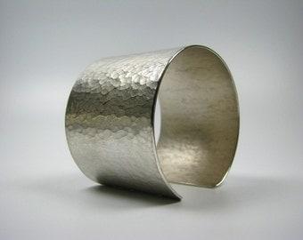 Wide forged cuff, hammered, satin, polished sterling silver, hand work, Bangle, cuff, wide, awschmuckart, silver cuff