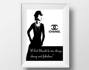 Instant download coco chanel quote, Printable art