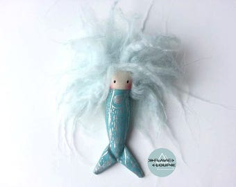 Baby Mermaid, rag doll, art doll, doll miniature, plush, model name: Sardine with blue hair