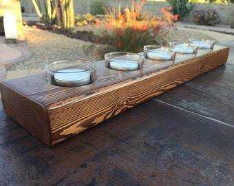 5 Candle Tea Light Candle Holder, Candles, Candle Display, Tea Light Candles, Tealight, Rustic Wood Candle Stick, Bathroom, Gift, Mom, Wife
