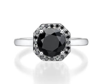 Black Onyx Halo Ring. Black Diamond Engagement Ring. Black Onyx Ring. Black Diamond ring. Anniversaey Gift. Black Ring. 14K/18K Solid Gold