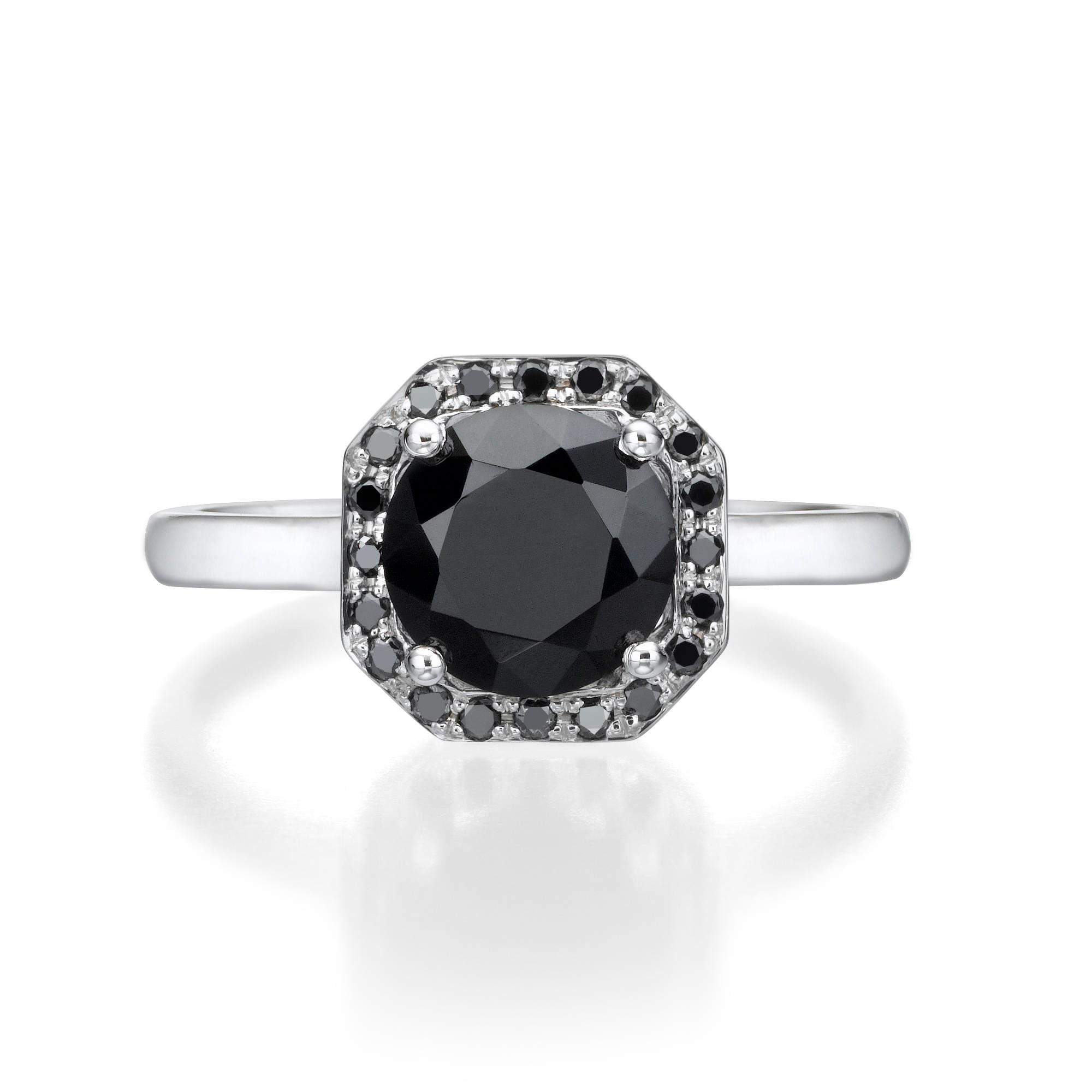 Black yx Halo Ring Black Diamond Engagement Ring Black