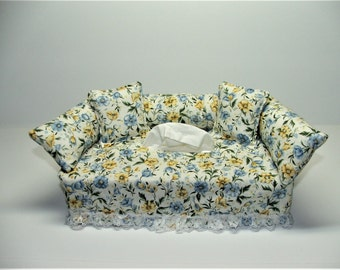 Blue & Yellow Flower Designer fabric tissue box cover.