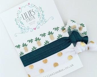 Pineapple hair ties, green hairbands, tropical hair bands, gold ponytail holder, elastic bracelets, yoga hair tie set, ribbon hair ties