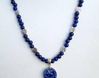 Midnight Blue Beaded, Clay Flower Pendant