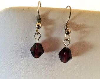 Purple Bicone Crystal  Beaded Silver Tone Pierced Earrings