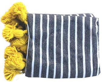 Striped Moroccan cotton blanket - gray and yellow