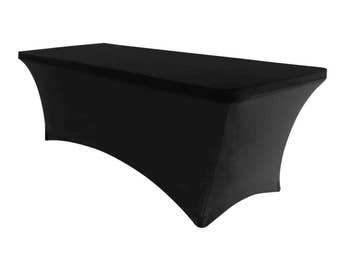 Black 6' ft. Spandex Fitted Stretch Tablecloth Rectangular Table Cover For Wedding Banquet Party Trade Show
