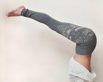 High Waisted Leggings, Yoga Pants, Henna Eagle Wing, Handmade Yoga Leggings, Grey Leggings, Henna Design