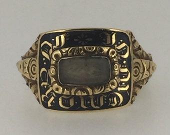 15K Gold, Black Enamel and Crystal Dedication Signet Ring. Georgian circa 1823.