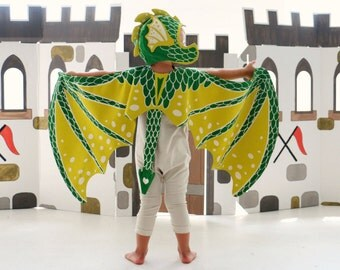 Dragon Costume - Green Dragon Costume Set - Dragon Wings and Hat - Game of Thrones - Birthday Gift for Kids - Valentine Gift - GOT