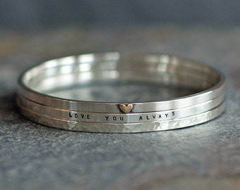 Three Silver Personalised Stacking Bangles with Gold Heart, Personalised Sterling Silver Jewellery, Special Gifts, Handmade in the UK