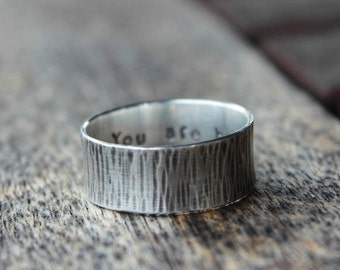"Personalized Woodgrain ""You are home."" Ring"