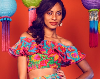 Vendala Lycra Festival Crop Top with Mexican Style Off the Shoulder Pom Pom Frill