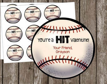 Baseball Valentine's Day Card - Valentine - Printable Custom - Editable - PDF - Class - Kids - You're a Hit