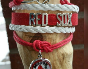Infinity love Red Sox bracelet  (your choice of image )