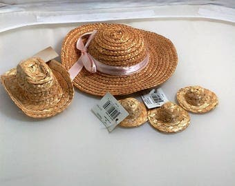 Set Of 5 different Types of Strw Hats For Crafting/Dolls/Cowboys, Etc./Great Used Condition (P)