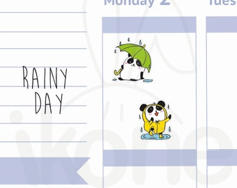 Boo The Panda - 24 Rainy day Planner Stickers, Umbrella stickers, Cute panda dancing in the rain Planner Stickers - A022