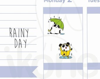 Boo The Panda - 24 Rainy day Planner Stickers, Umbrella stickers, Cute panda dancing in the rain Planner Stickers