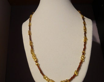 Long Bronze and Gold necklace