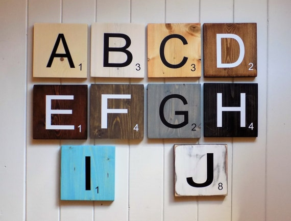 Large scrabble tiles scrabble wall art by countryhomechic for Large scrabble letters wall decor