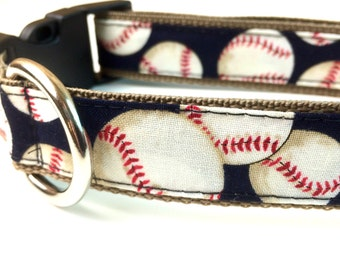 Baseball Dog Collar, Leash or Step In Harness with Personalized Engraved Buckle Option
