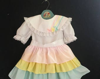 Vintage 80s Toddler Girls Lace Ruffled Pastel Party Dress Size 3-4T