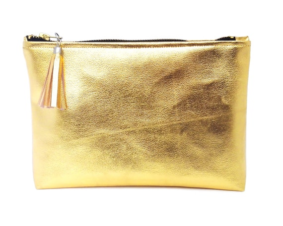 Gold Cosmetic Bag Leather Makeup Bag Мonogram Gift For Woman