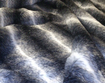 Black and White Stripped Faux Fake Wolf Fur - Various Lengths
