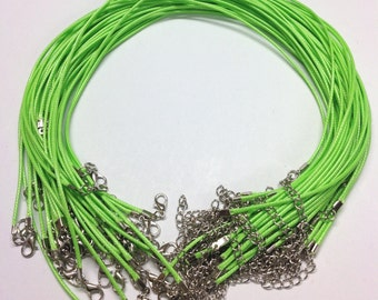"18.7"" x 1.5mm Lawn Green Waxed Cord Necklaces With Lobster Clasp - For Jewellery Making"