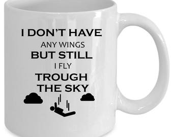 Skydiving white coffee mug. Funny Skydiving gift