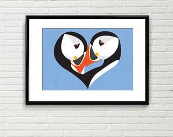 Puffins Print, digital art, Puffin, seabird, art print, valentine print, heart art, bird illustration, coastal art, wall art, nursery art
