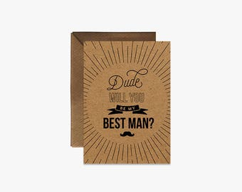 Dude will you be my best man? Card + Kraft Envelopes Card