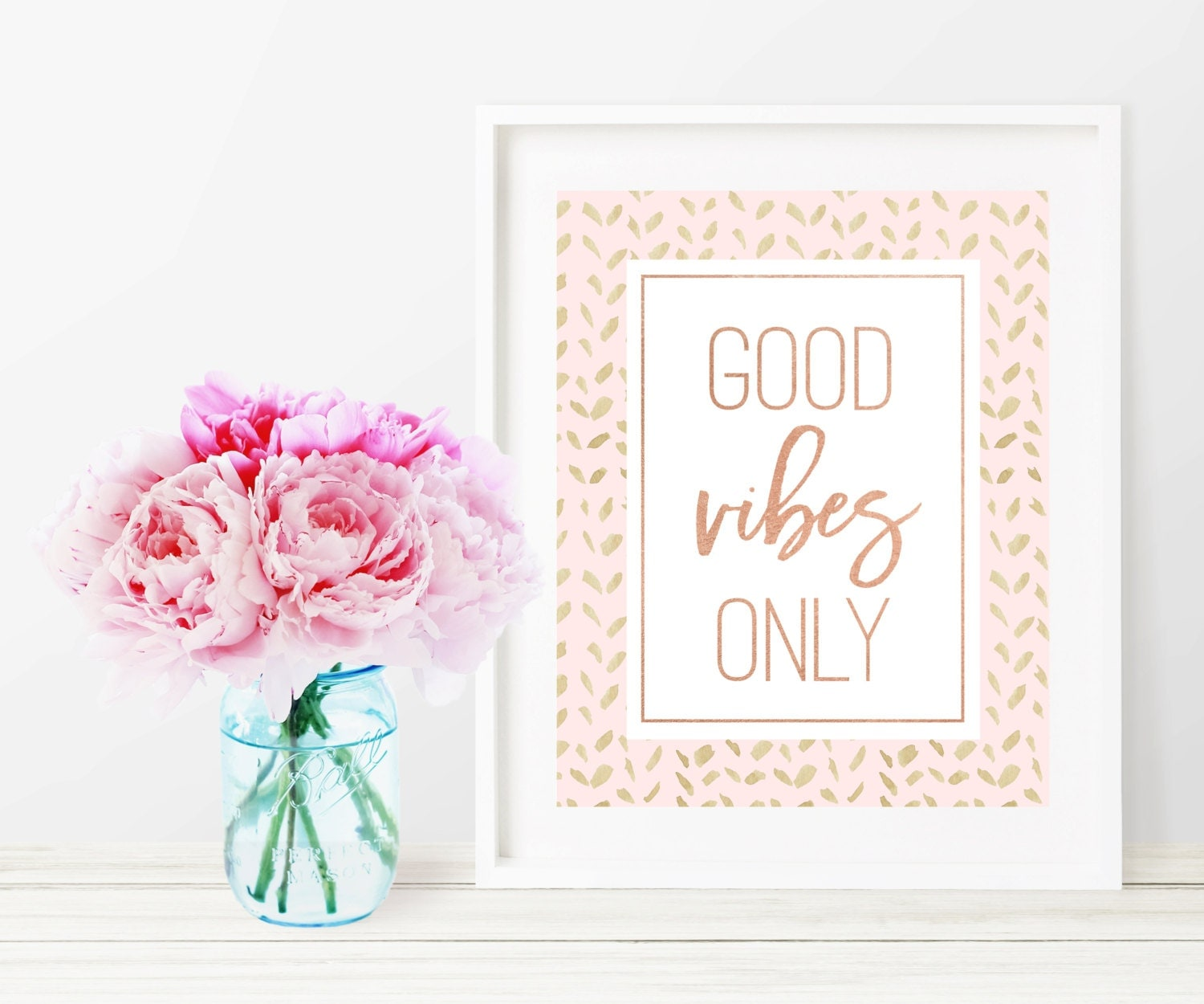 Rose Gold Wall Decor Good Vibes Only Print Rose Gold Print Pink And Gold Wall Art