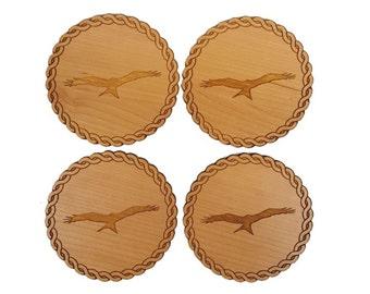 Red Kite Engraved Set of 4 Coasters - Cherry Wood Veneer