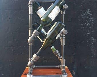 Industrial Iron Pipe Wine Rack