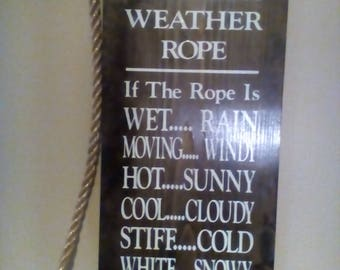 Garden Decor, Redneck Weather Rope,  Hand Painted Primitive Wood Sign Free Shipping
