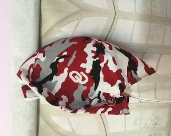 OKLAHOMA SOONERS, Surgeon Cap/Surgical Hat, Handmade, Great Stocking Stuffer.