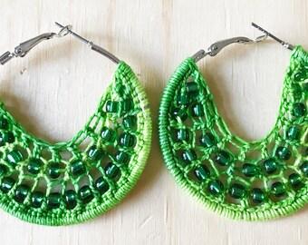Green earrings, green hippie jewelry, woven hoop earrings, boho earrings, green bead earrings, green woven earrings, green woven hoops