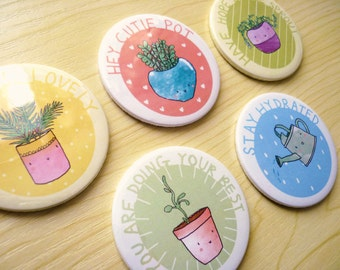 Positive Plants ∙ Pocket mirrors ∙ Cute positivity self care gifts