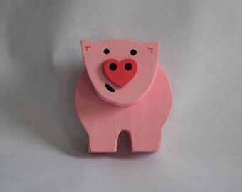 Wooden Pink Piggy