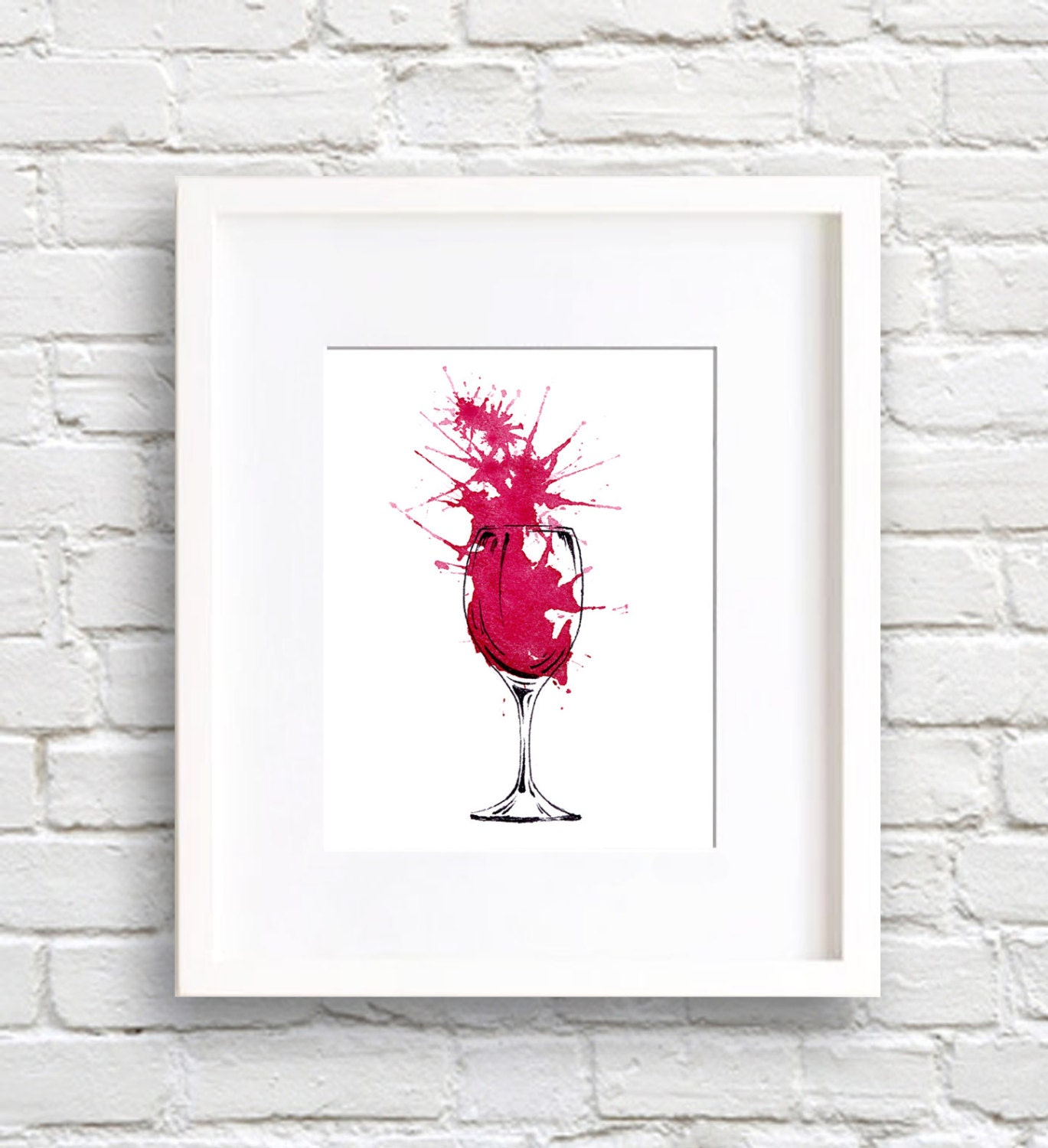 Red Wine Wall Decor : Red wine art print wall decor watercolor painting