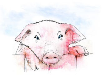 Little Piggy - kids decor - kids room - Nursery Art - Nursery Prints - Animal Prints - Childrens Art
