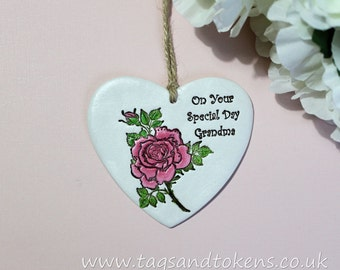 Hanging Heart Ornament For Grandma - On Your Special Day Grandma - Gift for Grandma - Grandmothers Day - Birthday Gift for Grandma