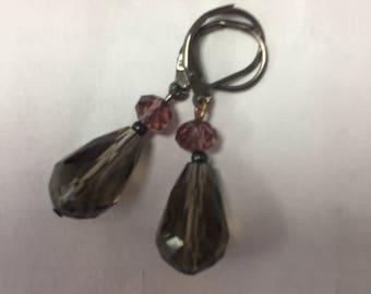 Sterling silver, handmade smoky earrings