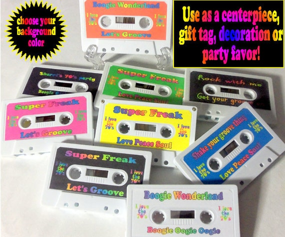 Cassette centerpiece, cassette tape decorative gift tag, cassette party favor, cassette tape decor, 70's or 80's party cassette decor