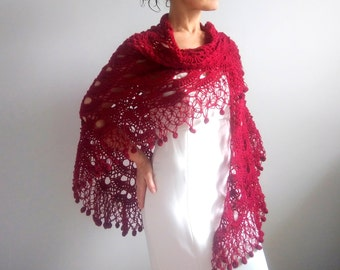 Dark red shawl,crochet shawl,bridal shawl,wedding shawl,bordo shawl,burgundy shawl,bridal wrap,fringed shawl,gift for her,express shipping