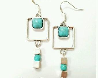 Turquoise earrings, turquoise jewelry, square earrings, square jewelry, geometric jewelry, geometric earrings, gemstone earrings