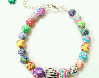 Clay bracelet, colorful beaded bracelet, floral bracelet, polymer clay bracelet, polymer clay jewelry, fimo clay beaded bracelet