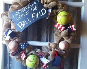 Softball and baseball wreath